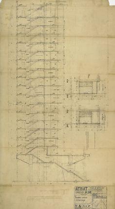 sección escalera incendios Le Corbusier, Sheet Music, Sketches, Spaces, Stairway, Architecture, Marseille, Drawings, Doodles