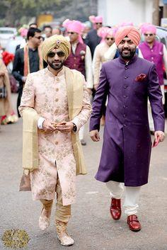 Real Indian Weddings - Sakshi and Manan | Pastel Pink Sherwani with Zardosi Work and Contrasting Dull Gold Pag | Purple Sherwani and Pink Pag for the Groom's Men | WedMeGood #wedmegood #sherwani #groom Sherwani For Men Wedding, Wedding Dresses Men Indian, Sherwani Groom, Wedding Dress Men, Wedding Suits, Indian Weddings, Punjabi Wedding, Wedding Couples, Real Weddings