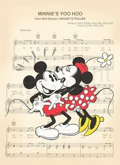 Vintage Mickey and Minnie Sheet Music Art Print by AmourPrints Walt Disney, Disney Punk, Disney Love, Disney Mickey, Disney Pixar, Disney Sheet Music, Sheet Music Art, Disney Songs, Mickey Vintage
