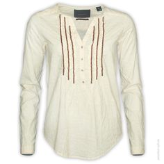 #Scotch #Maison  #Tunika 1/1  Leichte Tunika mit Rüschen, Perlen und All-Over Rauten-Muster.      Knopfleiste     Ärmelbündchen mit Knopf     Rautenmuster     dünner Baumwollstoff     Farbe: creme