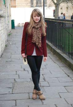 Burgundy Blazers & Black Coated Leggings #fashion #style #outfit #look , Zara in Blazers, Miss Selfridge in Leggings, Topshop in Scarves / Echarpes, Ash in Boots, Topshop in Bags