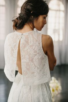 Alexandra Grecco Wedding Dresses 2016 Collection III. Bridal separates - open back crop top wedding dress.