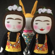 Frida Kahlo handmade grumpy doll by EEchingHandmade on Etsy