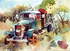 Brenda Swenson   WATERCOLOR Watercolor Landscape Paintings, Watercolor Projects, Gouache Painting, Watercolor Artists, Painting Prints, Watercolor Canvas, Farm Paintings, Different Art Styles, Art Cars