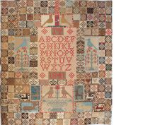 An 1841 patchwork quilt depicting the alphabet and various motifs....~♥~  WOW
