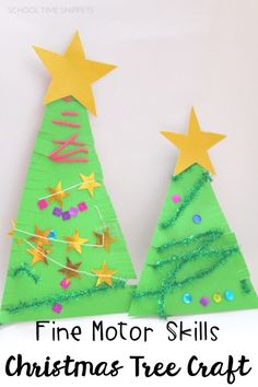 My kiddos love a chance to create and this activity did not disappoint! Provide the materials and let your child decorate his/her own christmas tree all while honing those all-important fine motor skills!