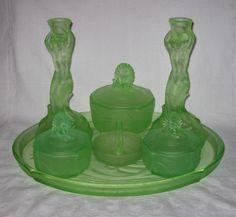 Nymphen trinket set by Walther & Sohne uranium green Dressing Table Set, Vaseline Glass, Pressed Glass, Glass Collection, Vanity Set, Vintage Glassware, Decorative Bells, Glass Art, Carnival