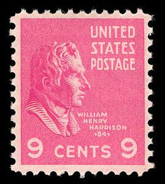 9th U.S. President William Henry Harrison's pink 1938 Presidential Series stamp.