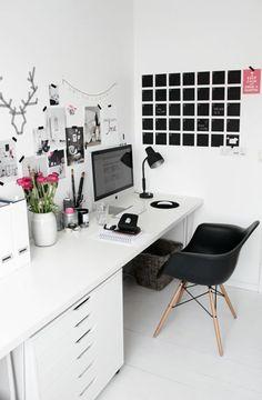 arbeitszimmer einrichten wandgestaltung schwarz weiß