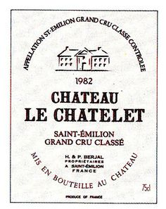 Chateau Le Chalet Saint Emilion 1982 Wine Label