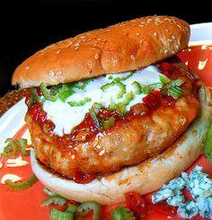 Fiery Buffalo Chicken Burgers .... Use Light Mayo To Cut Calories!!