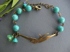 Bird Bracelet Turquoise Bracelet Sparrow Antique by CharmedValley, $21.50  Something blue