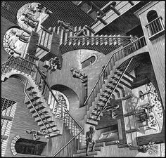 Escher. The paradox of the impossible constructions and geometric motifs in air, exploring architecture in an imaginative game of distorting mirrors