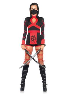 Everyone loves ninjas! Now you can be the best looking ninja around with this Dragon Ninja Costume from Leg Avenue. Includes hooded romper, dragon sash and face mask.