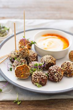 Asian Meatballs with a Sweet Chilli & Yoghurt Dip  |  Crush Online
