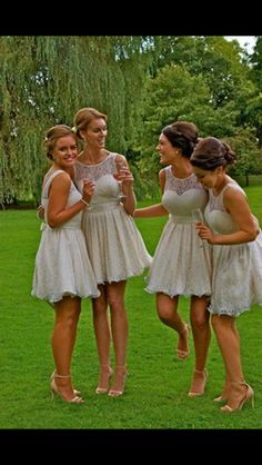 Short cream lace bridesmaids dresses from Quiz, Zara heels