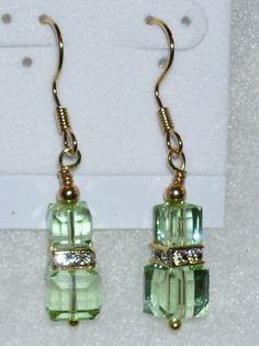 Chrysolite Green and Gold Vermeil Earrings by mommazart on Etsy, $12.00