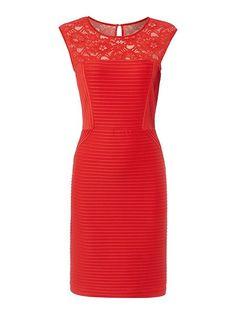 Red lace jersey shutter dress