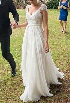 Elegant A-line V-neck Cap Sleeves Appliqued Beaded Sweep Train Lace Ivory Chiffon Beach Wedding Dress