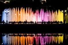 "Night Lights of Fountains Show - Night City Lights of Color Fountains Show Photography. From ""In the City"" photo collection."
