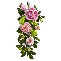 Pink Mixed Peony and Hydrangea Teardrop Wall Décor - Pink (24'')