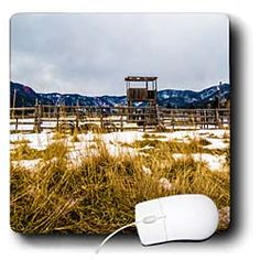 A farm in lightly dusted with snow and weeds of gold Mouse Pad