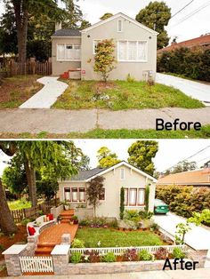 39 Budget Curb Appeal Ideas That Will Totally Change Your Home - exterior renovation Reforma Exterior, Home Exterior Makeover, Front Yard Landscaping, Landscaping Ideas, Front Yard Fence Ideas Curb Appeal, Front Yard Ideas, Inexpensive Landscaping, Small Yard Curb Appeal, Front Porch Pergola