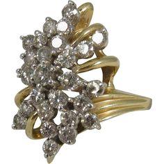 @rubylanecom Vintage 14k Yellow Gold Diamonds Cocktail Ring 1.4 tcw