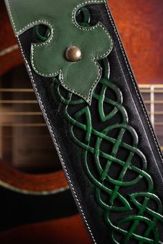 Custom Leather Guitar Strap Green Leather by EthosCustomBrands, $325.00