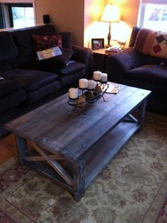 Farmhouse Weathered Wood Coffee Table with by ThinkOutsideBigBox, $325.00