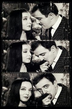 Gomez And Morticia Addams <3 How cute, photo booth style!