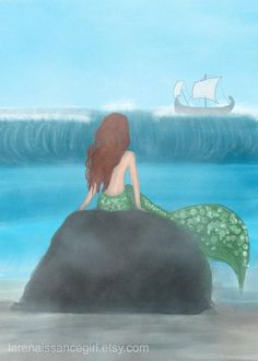*** Fine art print of a digital painting featuring an ancient Mermaid (Siren) on a rock, tempting a Greek Trireme (ship)! Perfect for Mermaid fans, and Greek Mythology enthusiasts alike!  Measures 5X7 and is printed on Canson Infinity Aquarelle Rag Fine Art Paper. ***  (please specify at time of purchase whether you would like the border-less or bordered version of this print.)   ► BONUS ITEM! This listing is for a 5X7 print, AND an HD digital file! After you purchase the item, I will…