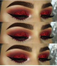 How To remove waterproof eyeliner? Make up eyes - If eyeliner and mascara are waterproof, this places special demands on your eye make-up remover. Eye Makeup Glitter, Red Eye Makeup, Skin Makeup, Beauty Makeup, Red Makeup Looks, Matte Makeup, Makeup Eyeshadow, Makeup Brushes, Eyeshadows