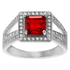 1 1/2 CT. T.W. Square-cut Cubic Zirconia Halo Prong Set Ring in Sterling Silver - Red, 5, Women's