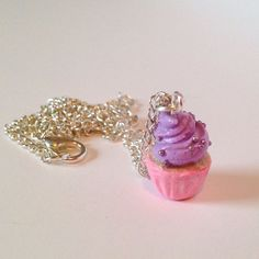 Handmade Pink and Lavender Clay Cupcake with Sprinkles  on a Silver Plated Chain