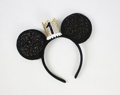 Mickey Mouse Birthday Outfit Mickey Mouse Ears by PreshToast Mickey Mouse Ears, Mickey Mouse Birthday, Disney Ears, First Birthday Parties, First Birthdays, Disneyland Ears, Ear Headbands, White Glitter, Balloons