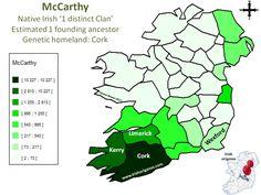Carthy'Mc   Irish Origenes: Use Family Tree DNA to Discover Your Genetic Origins   Clans of Ireland   Irish Surnames Map