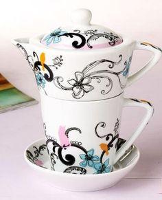 """""""Me Time"""" Teapot & Teacup & Saucer"""