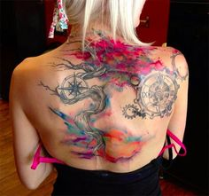 colorful tree tattoo on back for women , watercolor tattoo ideas -