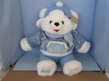 Stuffed plush 21 inch white Dan Dee Snowflake Teddy in blue fleece & white