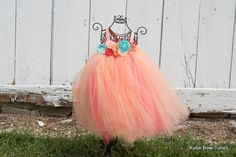 Peach, Coral and Aqua Vintage Tutu Dress-Flowers, Flower Girl, Flowergirl, Wedding, First Birthday, Smash Cake, Photo Shoot, Baby, Toddler