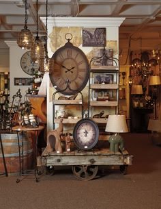 Toscana clocks and lamps as displayed in the #AmericasMart Atlanta Showroom of #mwcbk