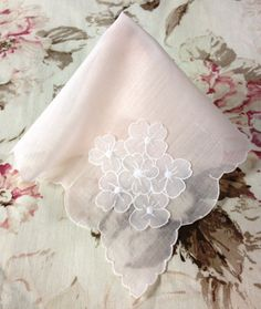 Vintage Pale Pink Handkerchief Floral Pink by DartmouthHill
