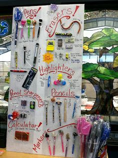 School Book Fair - display one of each pen, pencil, eraser, etc - and keep the containers behind a desk. Middle School Libraries, Elementary School Library, Library Lessons, Library Books, Library Ideas, Library Signs, Enchanted Forest Book, Fair Theme, Library Organization