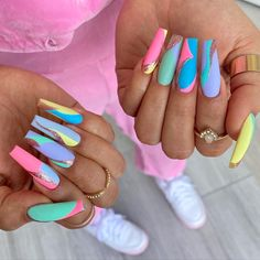 Funky Nails, Dope Nails, Trendy Nails, Swag Nails, Colorful Nails, Easter Color Nails, Easter Nail Art, Easter Crafts, Easter Nail Designs