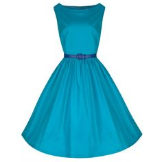 LINDY BOP 'AUDREY' DELIGHTFUL VIBRANT SCUBA BLUE HEPBURN 50's INSPIRED SWING DRESS