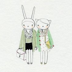Fifi Lapin and Ruby Gatta in vintage.