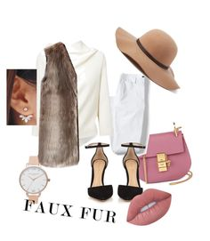 """Faux fur"" by alyssachen888 on Polyvore featuring Chloé, Lands' End, Roland Mouret, Chicwish, Gianvito Rossi, Scala, Olivia Burton and Lime Crime"