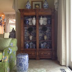 Blue and white - - like the cabinet w. tall glass doors