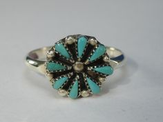 Vintage Native American Sterling Silver Turquoise Ring Size 5 by HipTrends2015 on Etsy